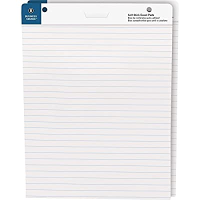 """Business Source 38593 Self-Stick Easel Pads, Ruled, 30 Shts, 25""""x30"""", 2/PK, WE"""