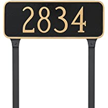 """Montague Metal Rectangle Address Plaque Sign with Stakes, 6"""" x 15.75"""", Black/Gold"""