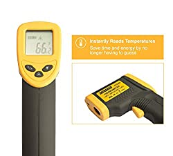 Kizen Laser DT-8380 Infrared Thermometer Non-Contact Digital Laser Temperature Gun with LCD Display -50°C ~ 380°C (-58 °F ~ 716°F)