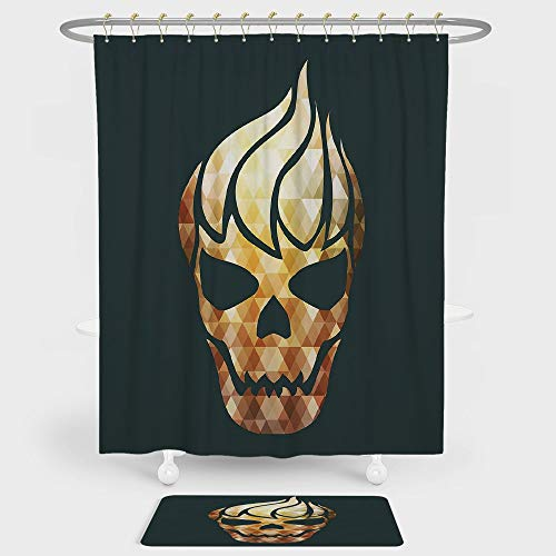 Modern Shower Curtain And Floor Mat Combination Set Gothic Skull with Fractal Effects in Fire Evil Halloween Concept For decoration and daily use Yellow Light Caramel Dark Grey -