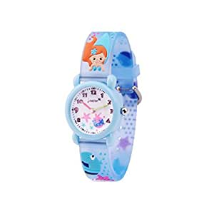 Wolfteeth Analog Girls Toddlers School Day Wrist Watch with Second Hand Cute Small Face Round Dial Water Resistant Little Girls Watch Starfish Band Blue 306601