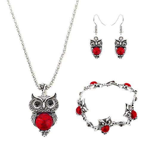 Gahrchian Owl Jewelry Set Retro Style Owl Turquoise Accessories (Bracelet Necklace Earrings) for Women Girls Supplies (Red)