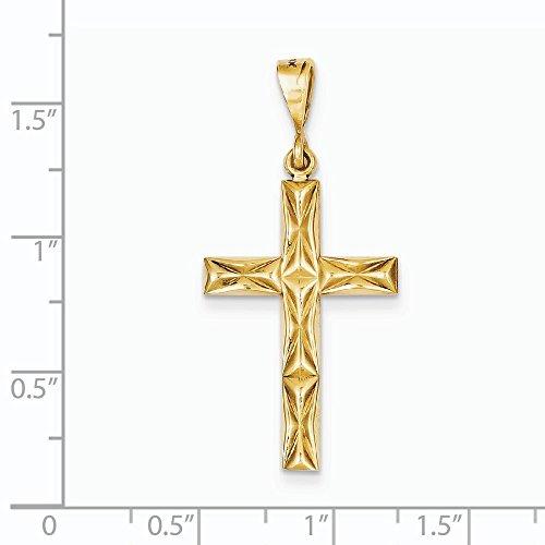Réversible Fancy 14 Carats Pendentif croix-Dimensions :  39,3 x 17,9-JewelryWeb mm