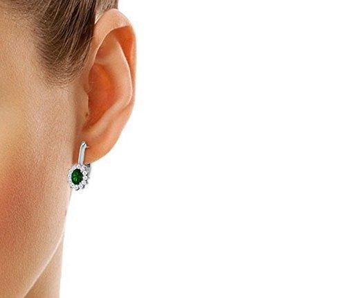 Libertini Boucle d'oreille argent 925 serti de Diamant et Émeraude