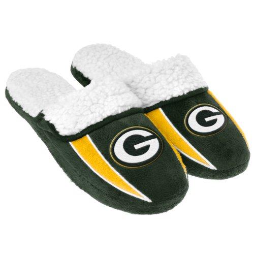 FOCO NFL Green Bay Packers Mens Team Logo Sherpa Slippersteam Logo Sherpa Slippers, Team Color, Large (11-12)