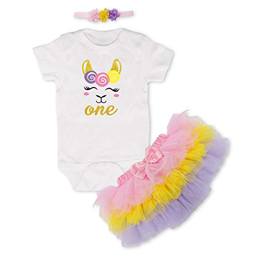 Baby Girls One Birthday Outfits Llama Romper Tutu Skirt Flower Headband Clothes 3pcs Set Tulle Sleeve Romper+Lace Skirt+ Flower Headband Newborn Clothes Pink ()