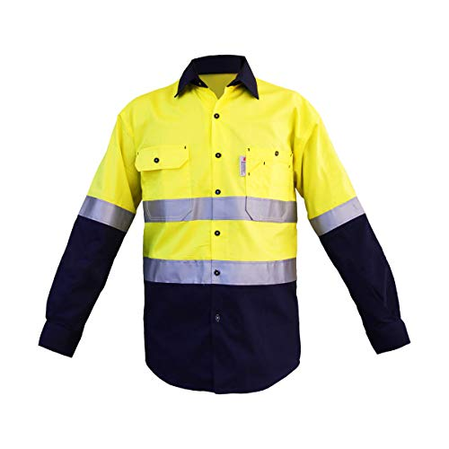 LANTERN FISH Hi-Viz Safety Shirts Men's ANSI Class 2 High Visibility, Lightweight, Underarm Ventilation,Navy Bottom, Big and Tall Shirt