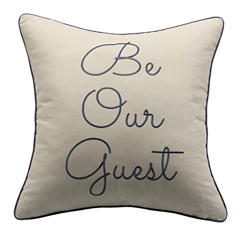 Phrase Pillow - YugTex Pillowcases Be Our Guest Pillow, Embroidered Guest Room Pillow,Welcome Gift,Wedding Gifts, Throw Pillow, Word Pillow, Phrase Pillow, 18