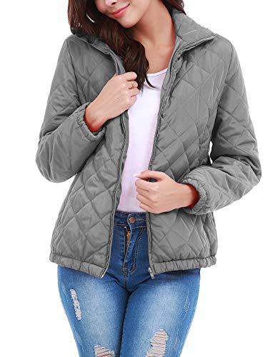 Uniboutique Women Outdoor Winter Down Jacket Packable Ultra Light Weight Puffer Coat Gray M ()