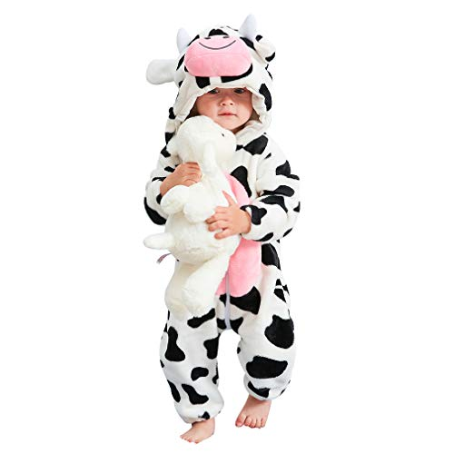 IDGIRL Infant Cow Costume, Animal Cosplay Pajamas for Baby Boy Winter Flannel Romper Outfit 30-36 Months, White One Piece