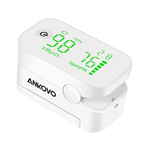 ANKOVO Pulse Oximeter Fingertip Blood Oxygen Saturation Monitor with Perfusion Index Portable Oximetry Finger Oxygen Monitor with Lanyard and Batteries