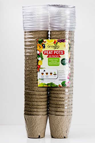 "50 Pack of 3"" Pots, Dome Lids and Labeling Sticks -Seed Starter Gardening Peat Pots – Eco-Friendly 100% Recycled Material- Easily Sprout Seeds and Grow Vegetables, Herbs, Flowers, Fruit - Recycled Pot"