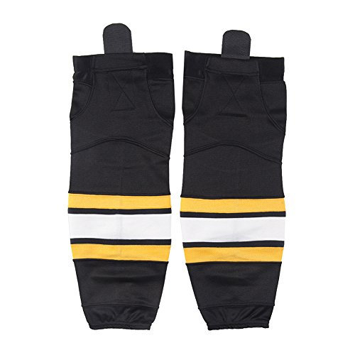 Sublimated Hockey Jersey - Kids Hockey Socks Black, COLDINDOOR Boys Shin Pads Sublimated Dry-fit School Practice Ice Hockey Socks Crew XS