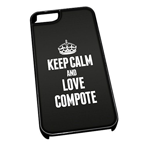 Nero cover per iPhone 5/5S 0987 nero Keep Calm and Love composta