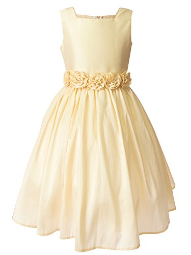 Spring Notion Big Girls Flower Girl Dress with Rolled Flower Waistband and Bolero