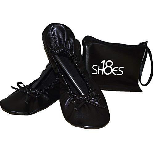 Shoes 18 Women's Foldable Portable Travel Ballet Flat Shoes w/Matching Carrying Case (9/10, Black sh18-1)
