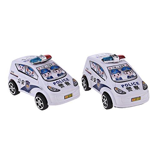 Perfk 2個 プラスチック プルおもちゃ 警察車モデル 模型 ダイキャスト玩具