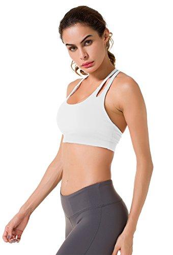 Queenie Ke Mujer Sujetador de deporte Yoga para Gym Running Blanco