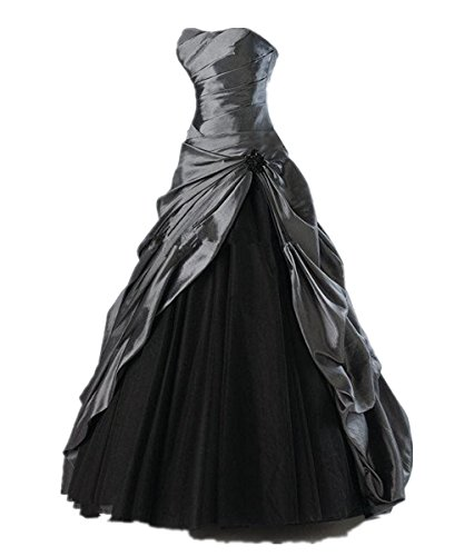 (Zorabridal Gothic Vintage Strapless Pleated Taffeta A-line Black Wedding Gown (2, Gray&Black))