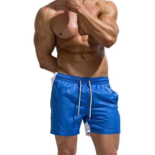 KASAAS Men's Beach Trunks, Solid Elastic Drawstring Pockets Summer Sport Workout Quick Dry Swim Surfing Shorts Pants(M,E) -