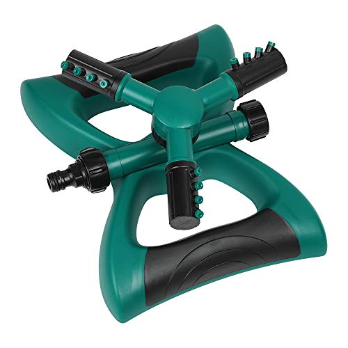 NEX Lawn Sprinkler, Automatic 360 Rotating Adjustable Garden Water Sprinklers Lawn Irrigation System Three Arm Sprinkler, 12 Built-in Spray Nozzles, Large Area Coverage