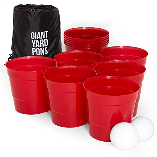 Play Platoon Giant Yard Pong Game - Complete Lawn Beer Pong Set with 12 Buckets, 2 Balls & Drawstring Carrying Bag