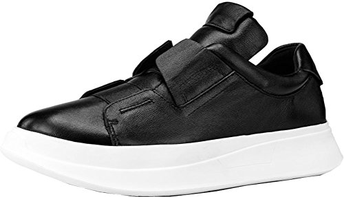 Abby 0786 Mens Latest Fashion Hidden Heel 3CM Platform Low Top Sport Leather Skateboarding Black oGlRNKb3av