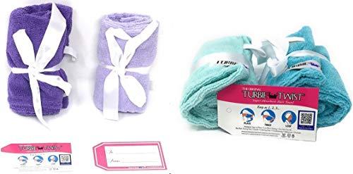 The Original Turbie Twist 4 Pack Light Aqua Dark Aqua Light Purple Dark Purple Microfiber towels