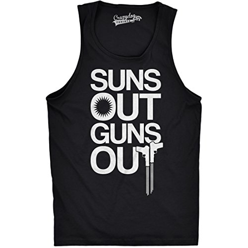 Crazy Dog TShirts - Mens Suns Out Guns Out Tank Funny Workout Tanks Hilarious Gym Shirt (Black) L - herren - L