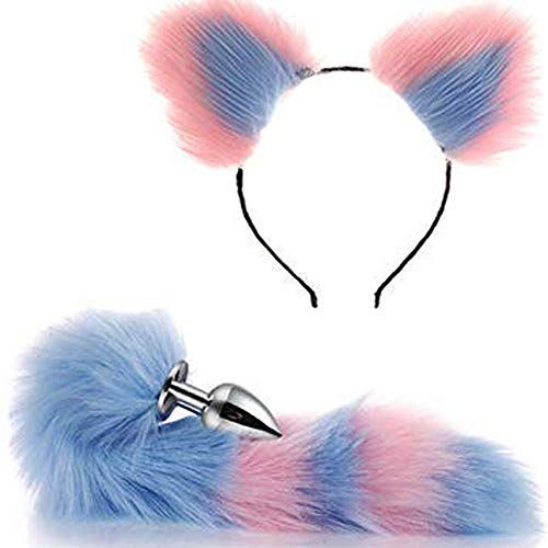 Games Play Party Toy Love Gift Costume Set- Metal Fox Dog Tail Plug+Short Plush Ears Cat Women Headdress