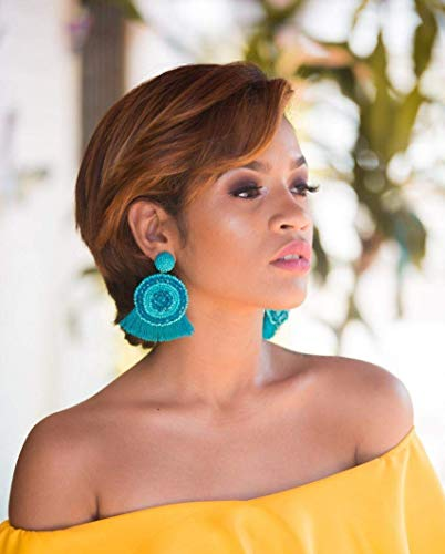 Turquoise Rondelle Oversized Tassel Earrings