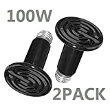 BETAZOOER 100W Infrared Ceramic Heat Lamp, Black Reptile Emitter Bulb for Pet Coop Heater Chicken Lizard Turtle Brooder Aquarium Snake No Harm No Light(2 Pack)