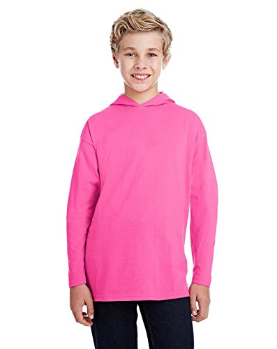 Anvil Youth Long-Sleeve Hooded T-Shirt (987B), Hot Pink, Small