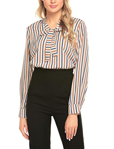 ACEVOG Office Blouse Womens White Formal Shirt,Yellow Stripes,Small ()