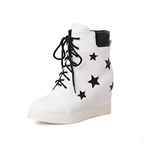 Women's Assorted Color High-Heels Round Closed Toe PU Lace-Up Boots