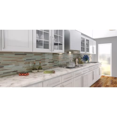 Sample - Sunset Beach Hand Painted Linear Glass Mosaic Tiles delicate