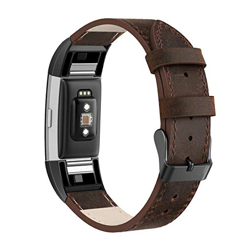 SWEES Leather Bands Compatible Charge 2, Genuine Leather Replacement Large (6.4