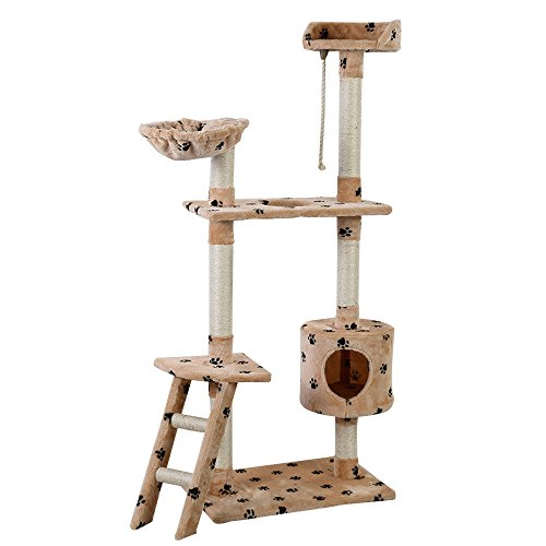 TANGKULA 60' Cat Tree Tower Huge Indoor Multi Level with Ladder Scratching Post Cat Kitten Furniture (Beige Pows)