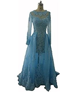 Blevla Womens Sexy Long Sleeves Lace Tulle Prom Dresses Evening Party Gowns