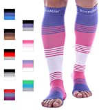 Premium Open Toe Compression Sleeve Dress Series 1 Pair 20-30mmHg Strong Support Graduated Sock Pressure Sports Running Recovery Shin Splints Varicose Veins Doc Miller (PinkVioletWhite, Large)