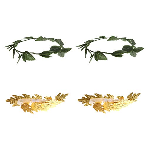 SM SunniMix 4 Pieces Gold Green Leaf Roman Greek Goddess Laurel Caesar Wreath Headpiece Fancy Dress Hairbands Hair Accessory -