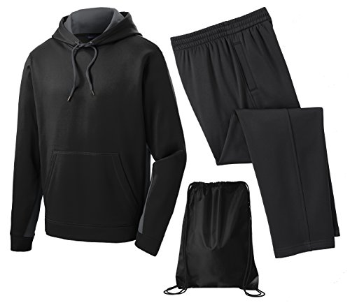 Sport Tek Men's Sport Wick Fleece Tracksuit, Top: 4XL / Bottom: 3XL, Grey/Black