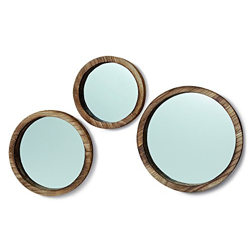 (The Rustic Boho Chic Porthole Mirror Trio, Set of 3 - 10, 12 and 13 ¾-Inches Diameter, Glass and Sustainable Wood, By Whole House Worlds)