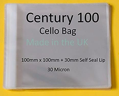 30mm Flap 100mm x 100mm Pack of 250 Cellophane Display Bags Self Seal Century 100 Cello Small Cello 30 Micron