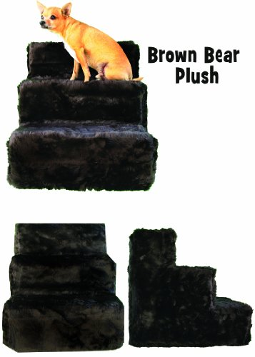 Pet Flys High density foam Pet Steps with Brown Bear plush cover