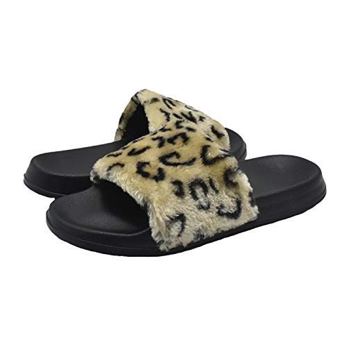 Leopard Slide Sandals for Women Faux Fur Arch Support Slip on Shoes Furry Plush Sandals Slippers (Fuzzy Leopard)