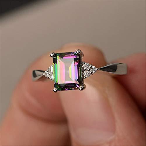 Haluoo Lightning Rings, Women's Silver Princess Cut Mystic Rainbow Rings Square Diamond Engagement Rings Jewelry Gift (9, Silver) ()