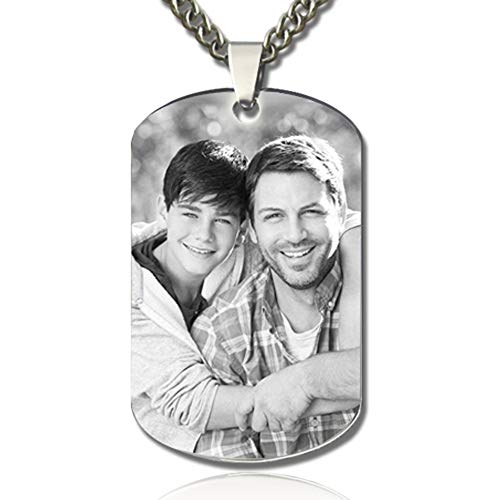 XXI0c2sd2s Personalized Photo Engraved Stainless Steel Necklace Tags Dog Tag Pendant Memorial