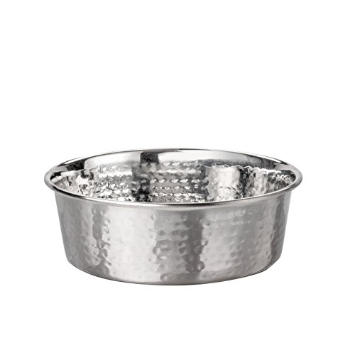 NEATER PET BRANDS Hammered Stainless Steel Pet Bowl - Decorative Designer Stylish Dog & Cat Dish (Hammered Stainless Steel Bowl)