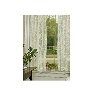 Heritage Lace Coventry 45-Inch Wide by 63-Inch Drop Panel with Trim, Ivory - Window panel with trim Fine-gauge lace Made in USA - living-room-soft-furnishings, living-room, draperies-curtains-shades - 41gOi P7tEL. SS400  -